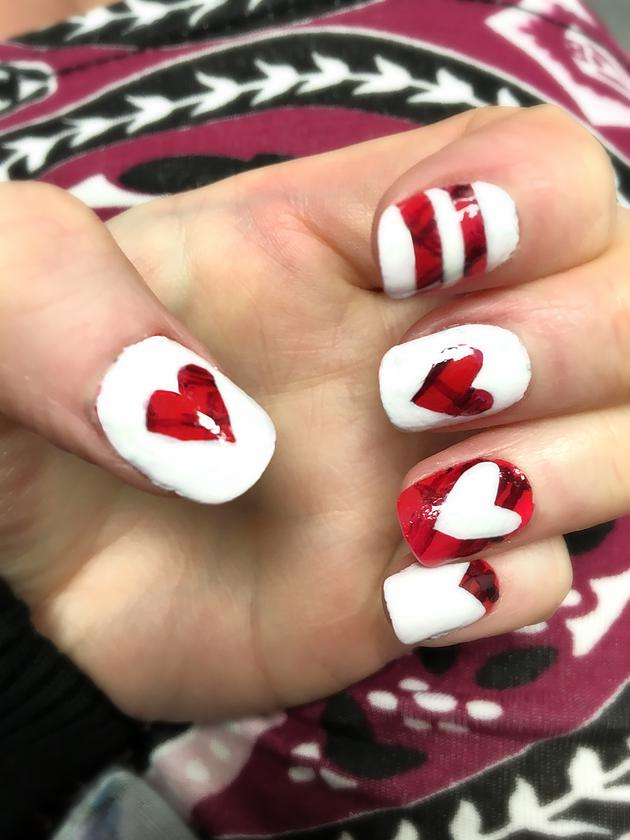 Valentines Nail Art: Hearts and Stripes